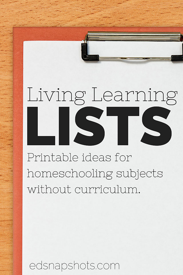 Free homeschool planner printables: Lists to learn without a homeschool curriculum.
