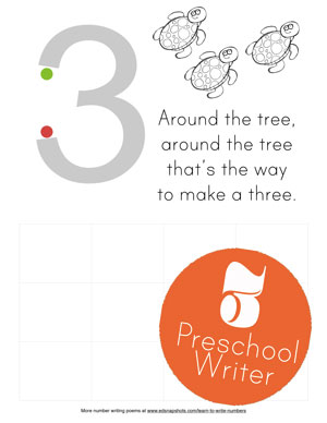 Preschool Page Learn to Write Numbers Three