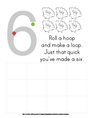 Learn to Write Numbers: Six Preschool Page