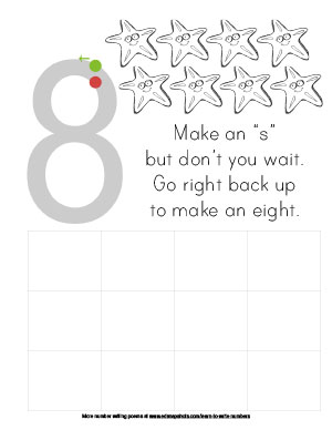 Learn to Write Numbers Eight Preschool Version