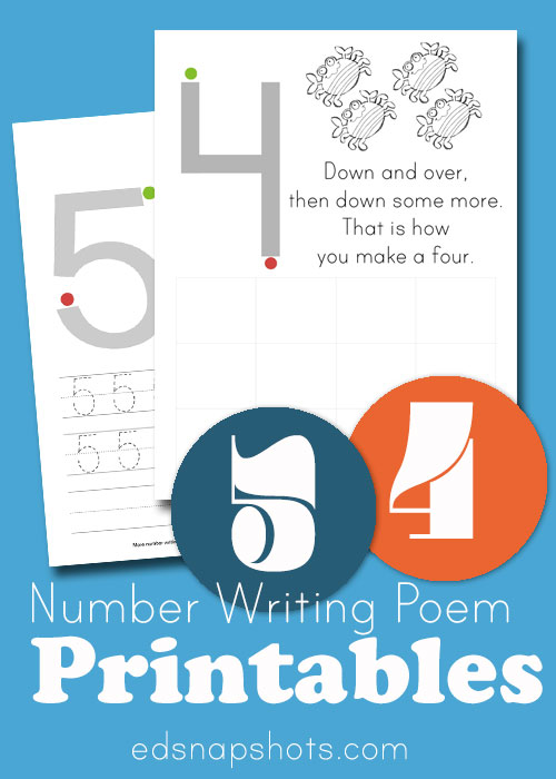 Four and Five of Learn to Write Numbers Printables