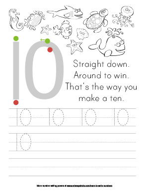 Learn to Write Numbers Ten Tracer Version Printable