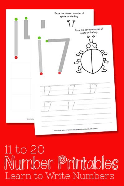 Learn to Write Numbers 11-20 Free Printables Pam Barnhill Homeschool Solutions