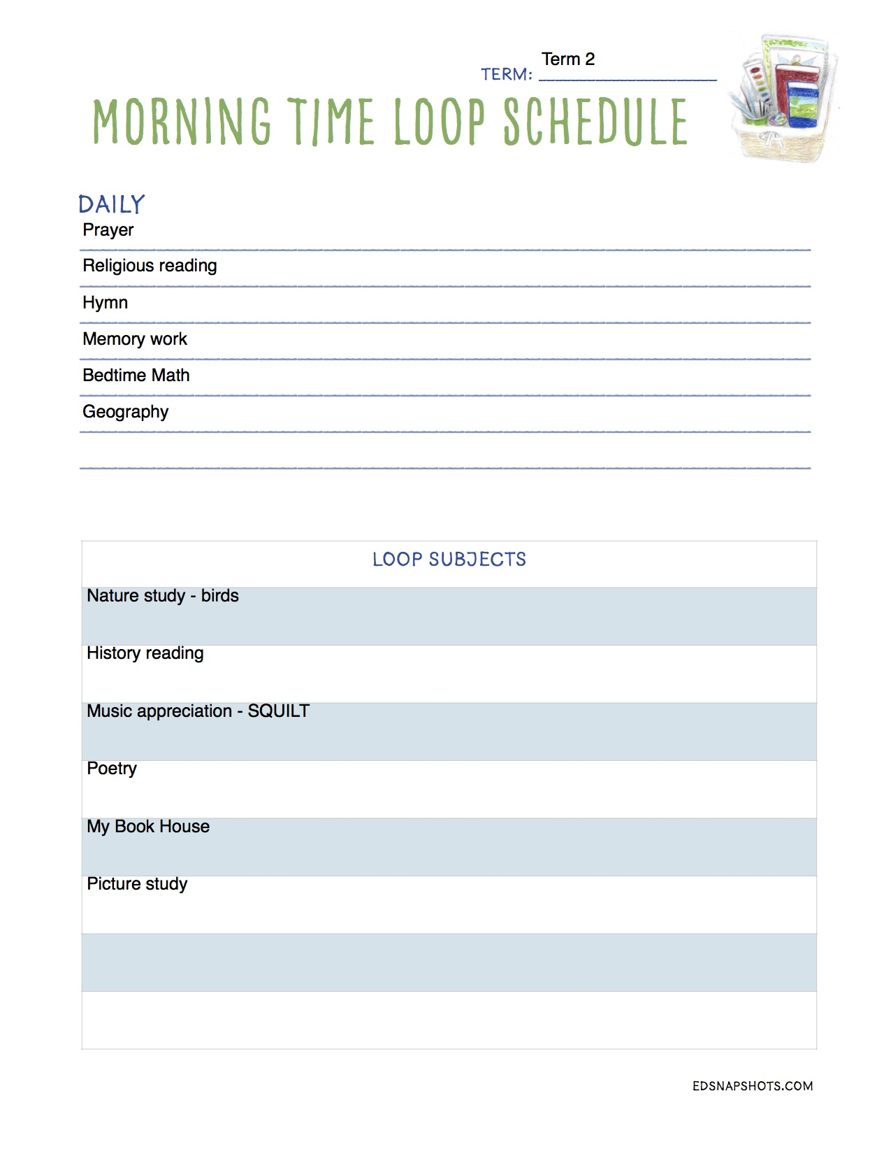 Loop Scheduling for Morning Time Sample Loop Pam Barnhill Homeschool Solutions