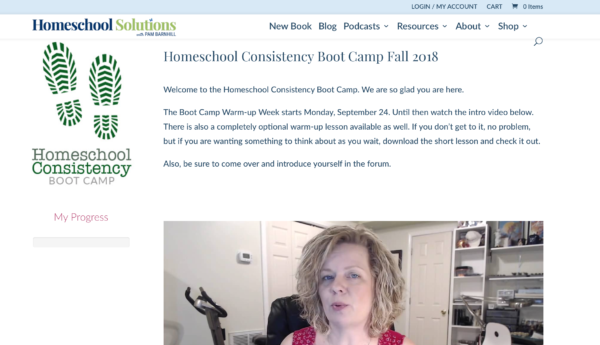 Homeschool Consistency Boot Camp Lesson Page